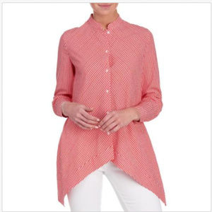 Asymmetrical Tunic Blouse Monck Neck